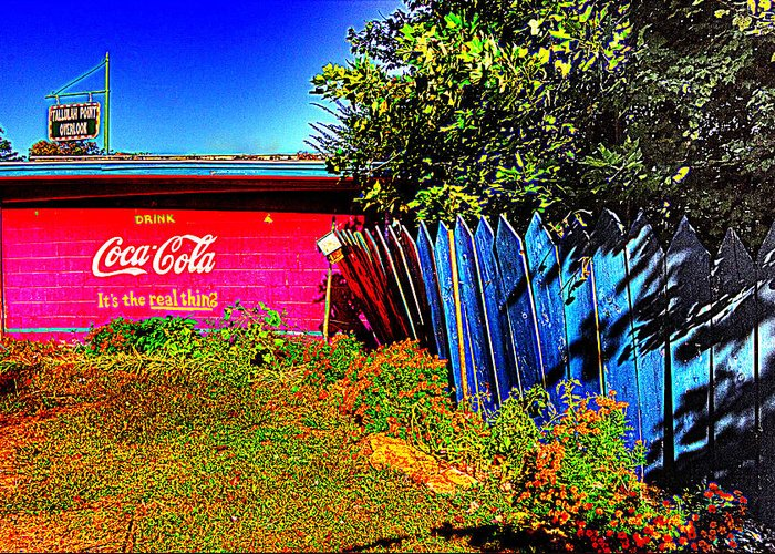 Tallula Greeting Card featuring the photograph Tallulah Point Overlook Coke Sign by Zane Kuhle
