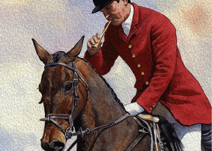 Hunter Greeting Card featuring the digital art Tally Ho Detail by Anthony Forster
