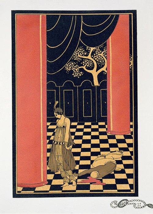 Tamar Greeting Card featuring the painting Tamara Karsavina by Georges Barbier