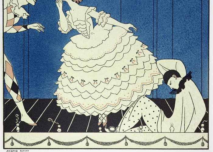 Stencil Greeting Card featuring the painting Tamara Karsavinaas Columbine by Georges Barbier