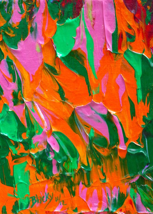 Bold Abstract Greeting Card featuring the painting Tangerine And Lime by Donna Blackhall