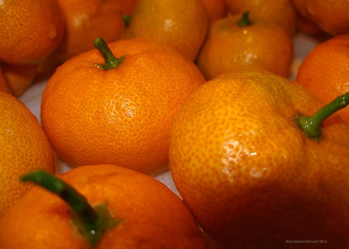Tangerines Greeting Card featuring the photograph Tangerines 01 by Brian Gilna