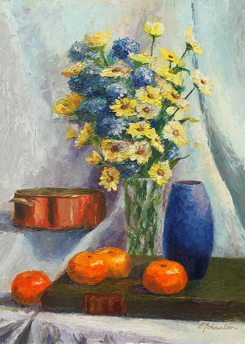 Tangerines Greeting Card featuring the painting Tangerines And Tome by Beth Johnston