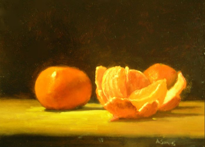 Tangerines Greeting Card featuring the painting Tangerines by Ann Simons