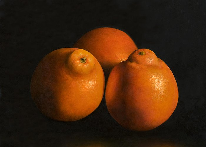 Tangerines Greeting Card featuring the painting Tangerines by Anthony Enyedy