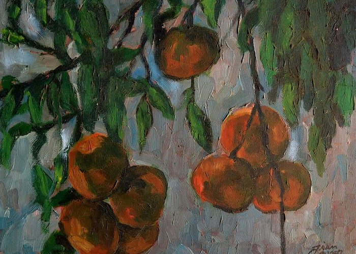 Tangerines Greeting Card featuring the painting Tangerines At Dawn by Peter Paul Christian Mahilum