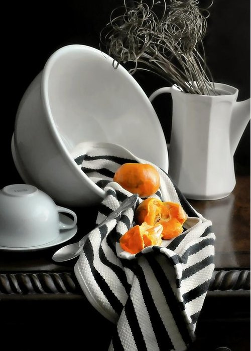 Still Life Greeting Card featuring the photograph Tangerines by Diana Angstadt