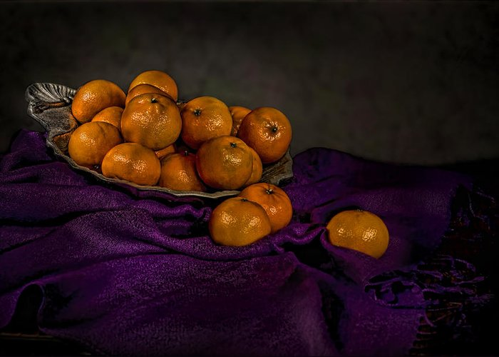 Food Greeting Card featuring the photograph Tangerines In A Shell Platter by Leah McDaniel