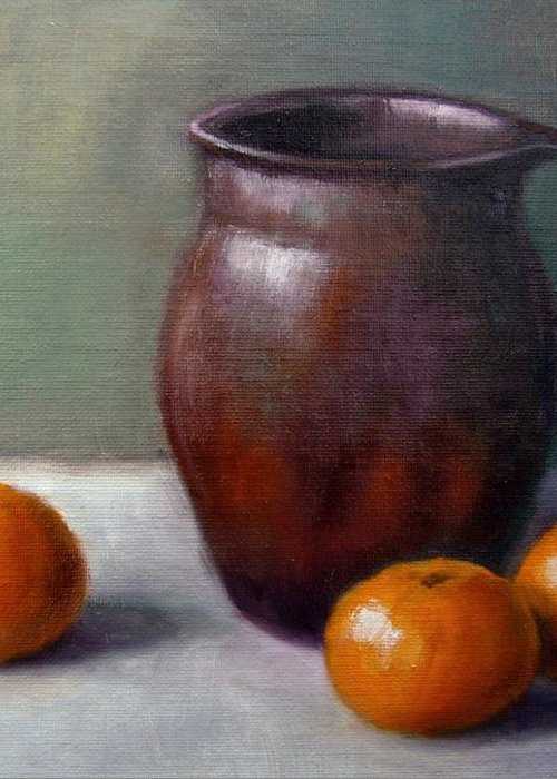 Tangerine Greeting Card featuring the painting Tangerines by Janet King