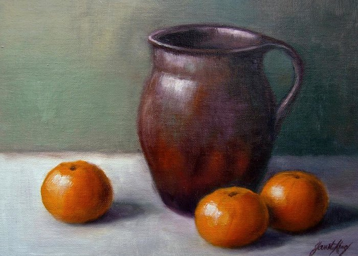 Tangerine Reflection In Pitcher Greeting Cards