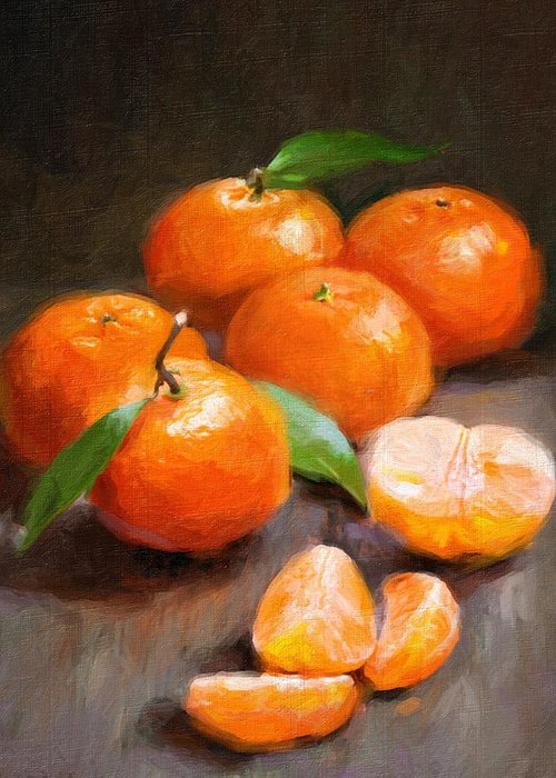 Tangerines Greeting Card featuring the painting Tangerines by Robert Papp