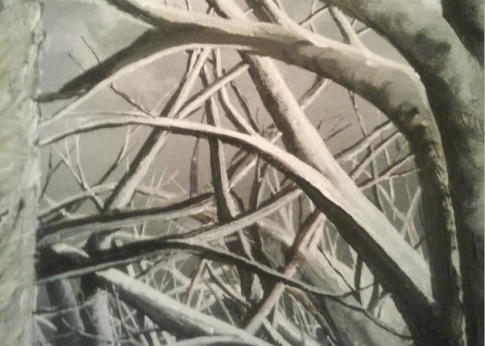 White Trees Greeting Card featuring the painting Tangle by Erik Coryell