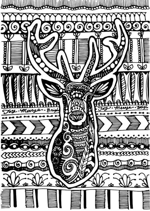 Deer Greeting Card featuring the drawing Tangled Deer by Sadie Maughan