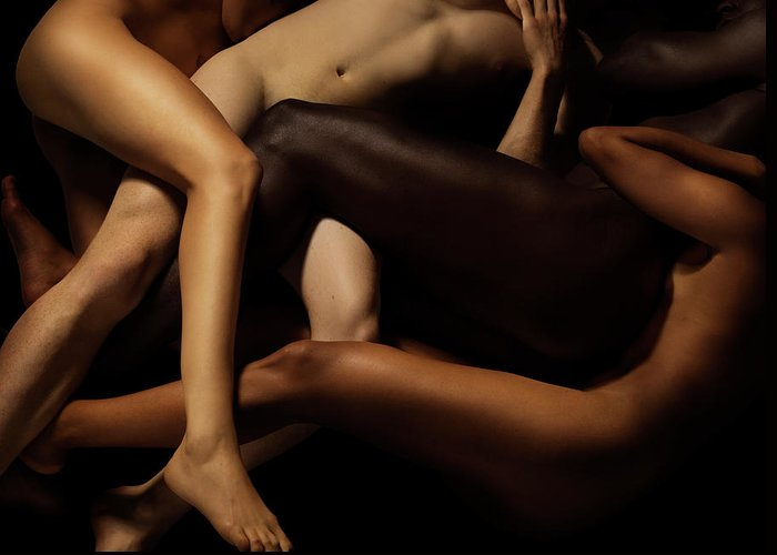 Young Men Greeting Card featuring the photograph Tangled Human Bodies Of Different Skin by Jonathan Knowles