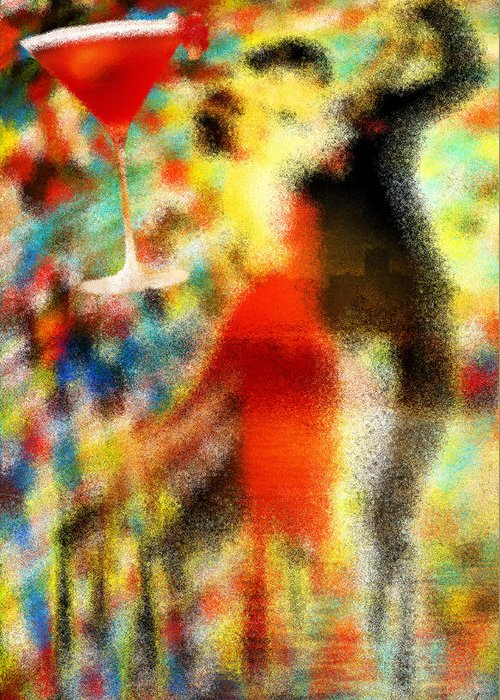 Tango As The Sunset Greeting Card featuring the painting Tango As The Sunset by Kenal Louis
