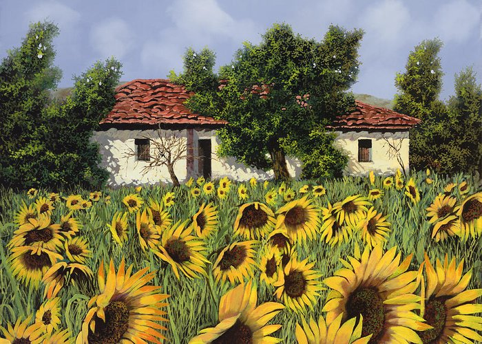 Tuscany Greeting Card featuring the painting Tanti Girasoli Davanti by Guido Borelli