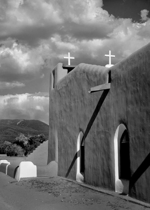 Architecture Greeting Card featuring the photograph Taos Pueblo Church by David and Carol Kelly