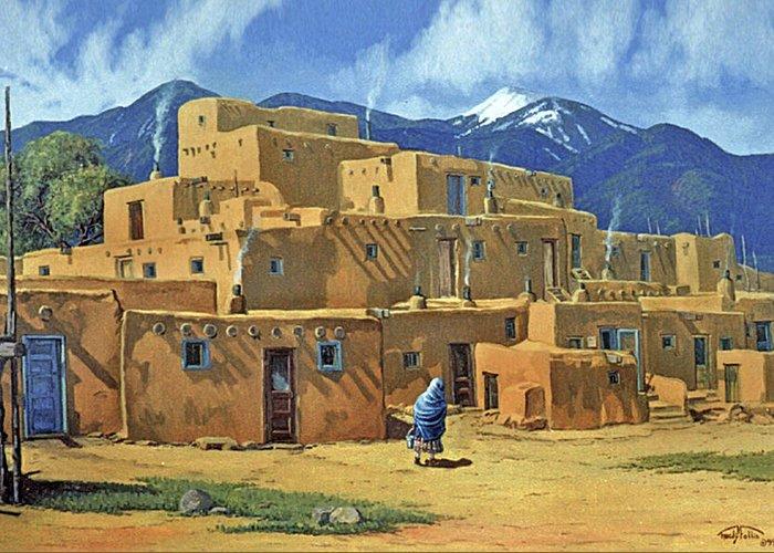 Taos. Pueblo Greeting Card featuring the painting Taos Pueblo by Randy Follis
