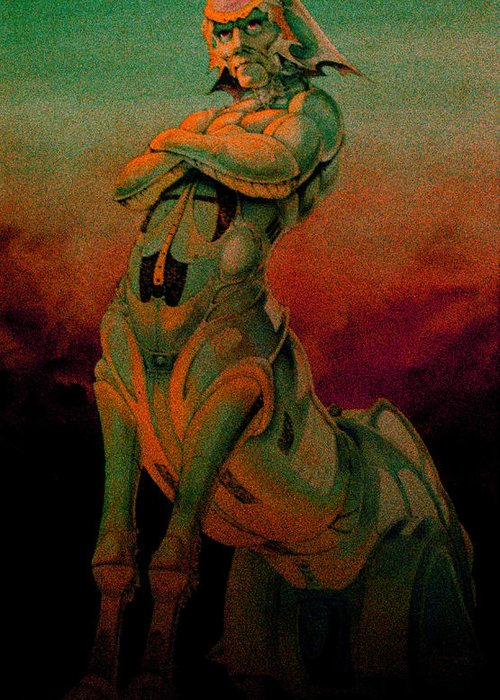 Tarot Greeting Card featuring the pastel Tarot The Chariot by Eric Bakke