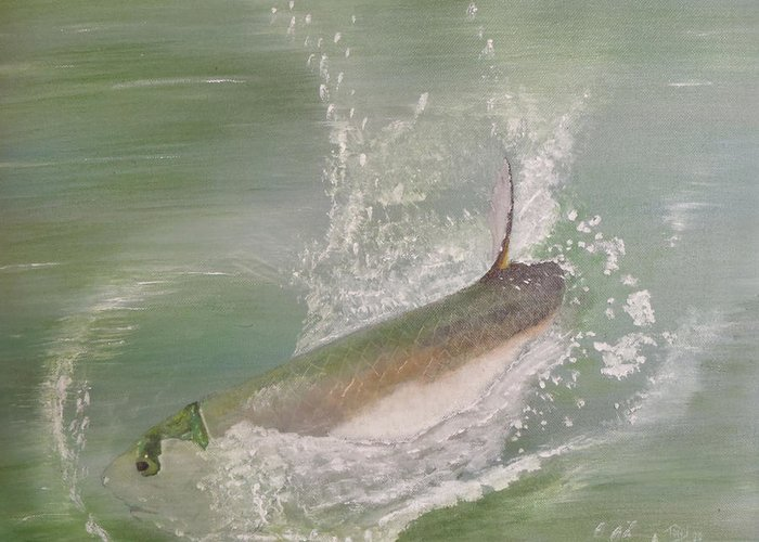 Tarpon Breaking Water Greeting Card featuring the painting Tarpon Breaking Water by Tony Rodriguez
