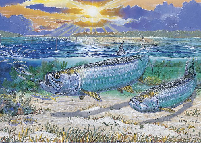 Tarpon Greeting Card featuring the painting Tarpon Cut In0011 by Carey Chen