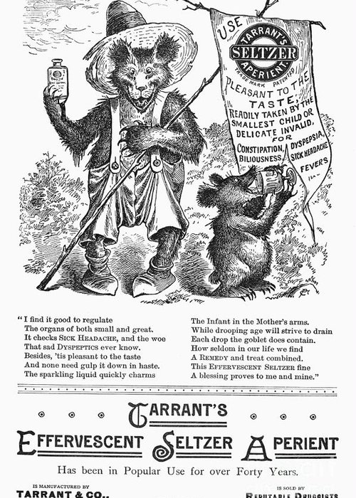 1887 Greeting Card featuring the photograph Tarrants Seltzer Aperient by Granger