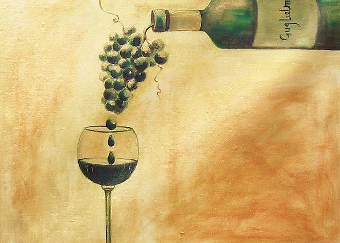 Wine Greeting Card featuring the painting Taste Of Life by Sheri Chakamian