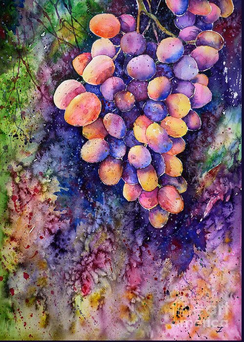 Grapes Greeting Card featuring the painting Taste Of The Sun by Zaira Dzhaubaeva