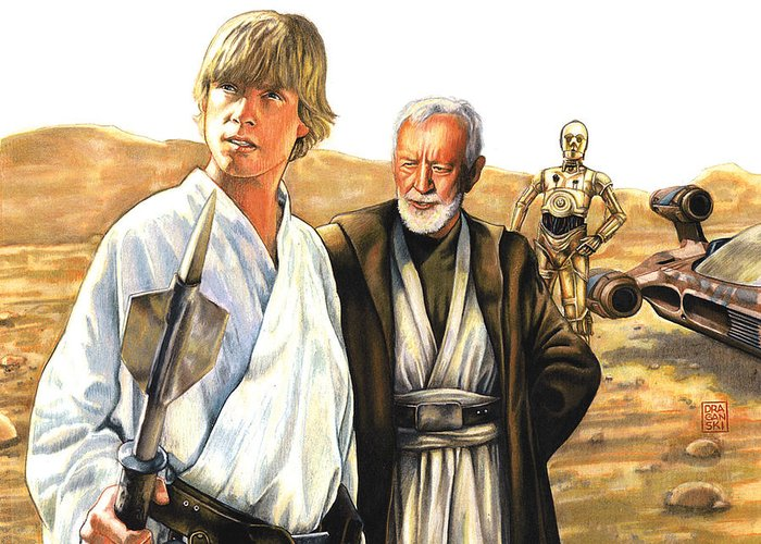 Star Greeting Card featuring the drawing Tatooine Massacre by Edward Draganski