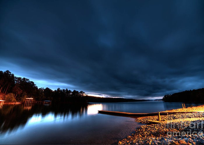 The Lake Tator Hole In Granite Falls With Heavy Clouds And A Sunset. Greeting Card featuring the photograph Tator Hole 14mm Sunset by Robert Loe