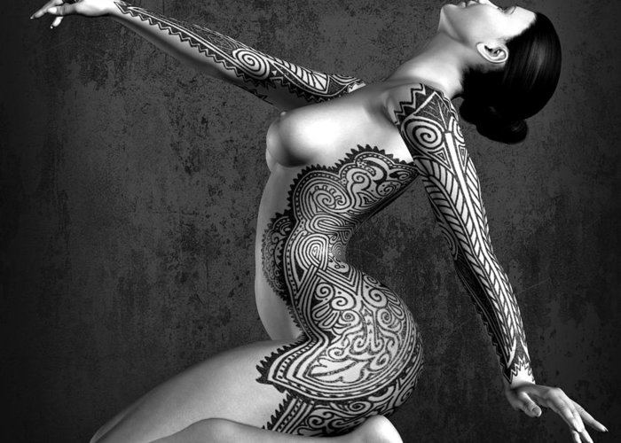 Tattooed Nude Greeting Card featuring the digital art Tattooed Nude Black And White by Kaylee Mason