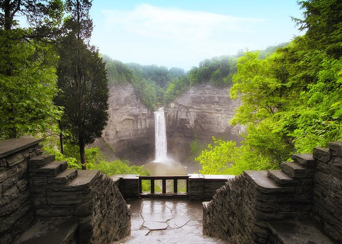 Waterfall Greeting Card featuring the photograph Taughannock Falls by Jessica Jenney