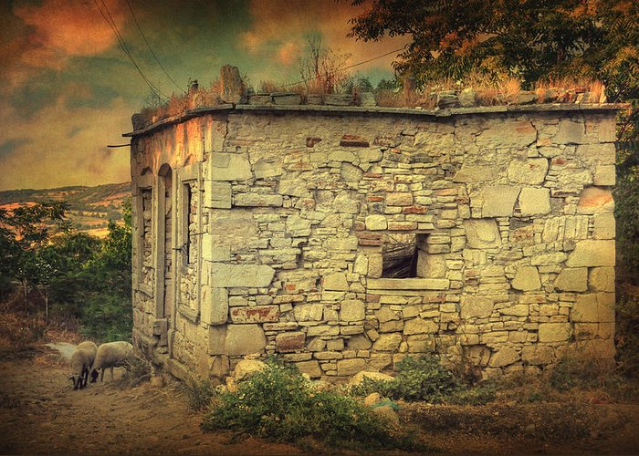 Village Greeting Card featuring the photograph Tavern by Taylan Apukovska
