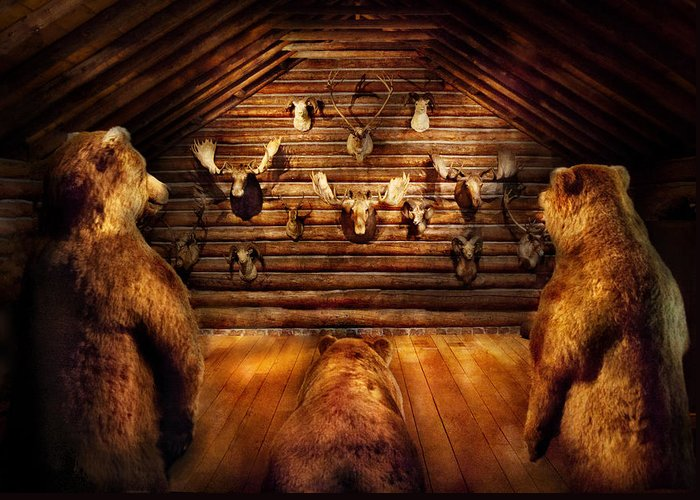 Hdr Greeting Card featuring the photograph Taxidermy - Home Of The Three Bears by Mike Savad