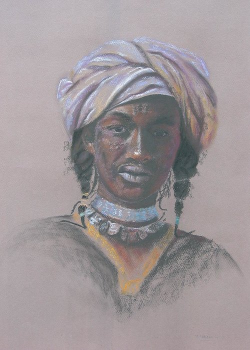 Portrait Greeting Card featuring the painting Tchad Warrior by Maruska Lebrun