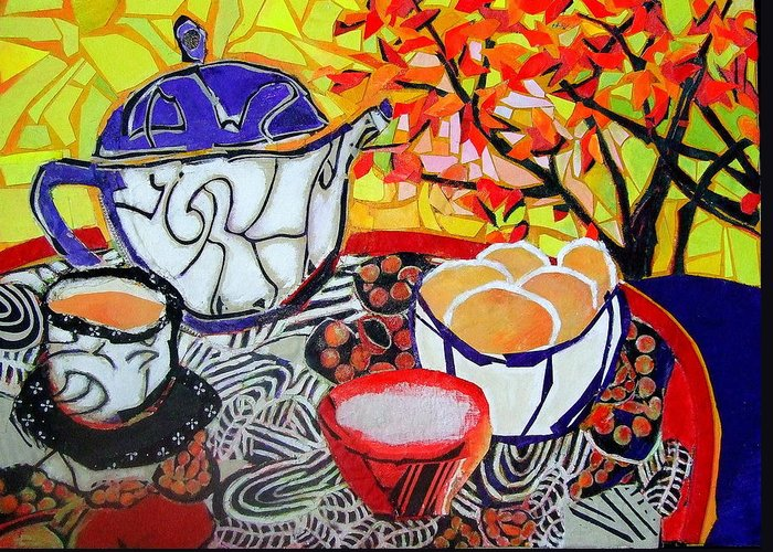 Mixed Media Expressionist Painting Greeting Card featuring the mixed media Tea And Eggs by Diane Fine