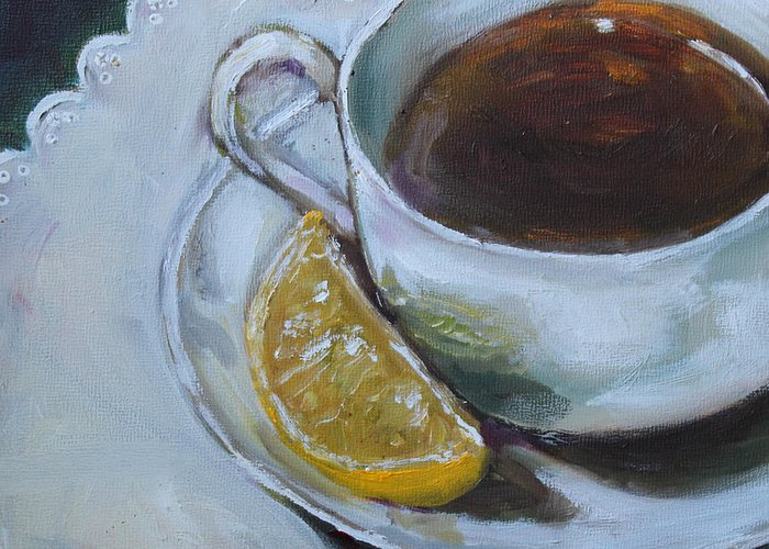 Tea Greeting Card featuring the painting Tea And Lemon by Kristine Kainer