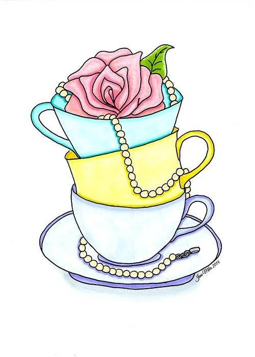 Drawings Greeting Card featuring the drawing Tea Cups by Jane Miles