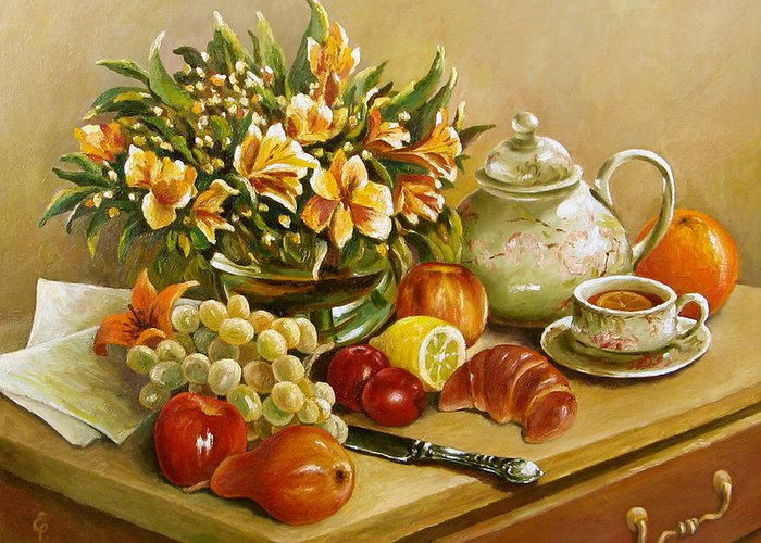 Still Life Greeting Card featuring the painting Tea For One by Ewa Pluciennik