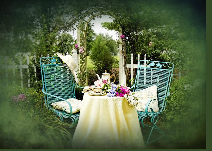 Greeting Card featuring the photograph Tea In My Garden by Trudy Wilkerson