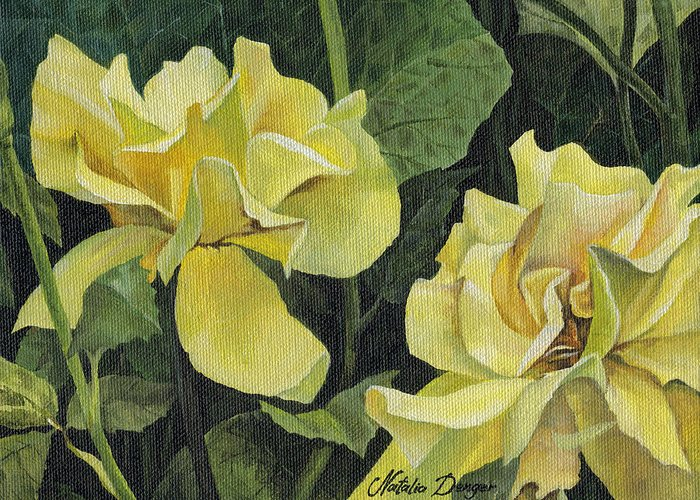 Yellow Greeting Card featuring the painting Tea Rose by Natasha Denger
