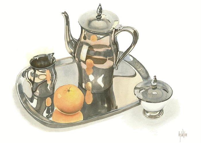 Tea Service With Orange Greeting Card featuring the painting Tea Service With Orange by Kip DeVore