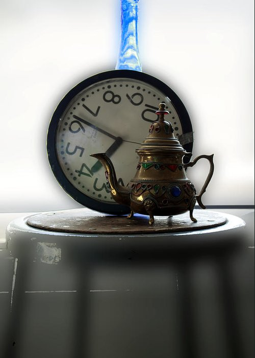 Clock Greeting Card featuring the photograph Tea Time by Barbara Giordano