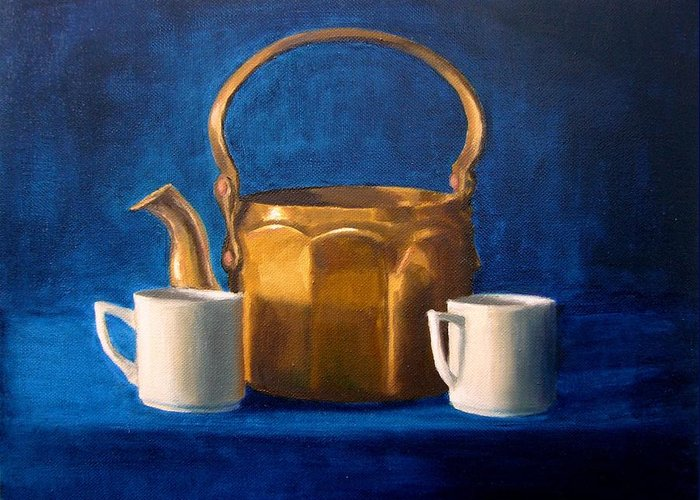 Tea Greeting Card featuring the painting Tea Time by Janet King