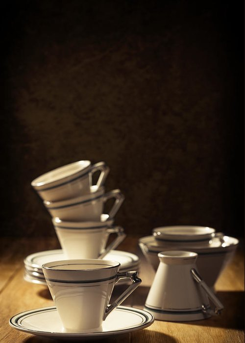 Stack Greeting Card featuring the photograph Teacups by Amanda Elwell