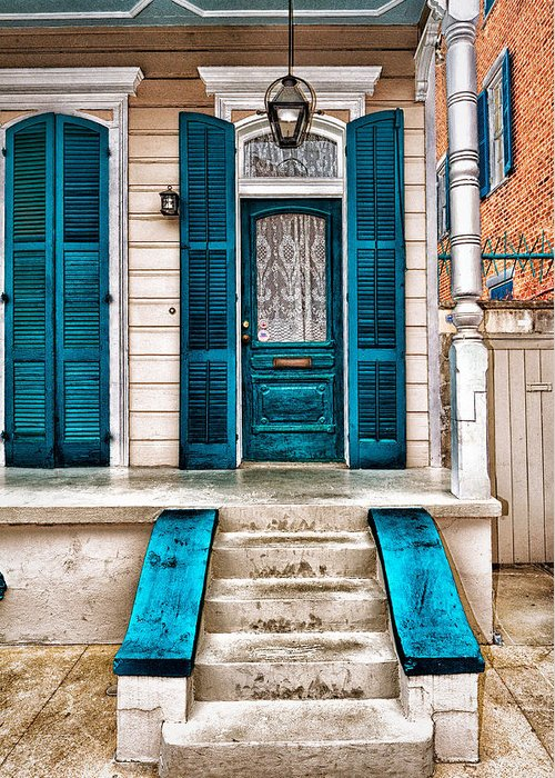 Teal Greeting Card featuring the photograph Teal Door by Gene Swensen