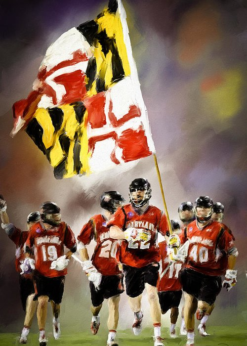 Lacrosse Greeting Card featuring the painting Team Maryland by Scott Melby