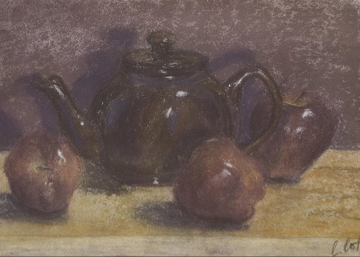 Still Life Greeting Card featuring the painting Teapot And Apples by Claudia Cox