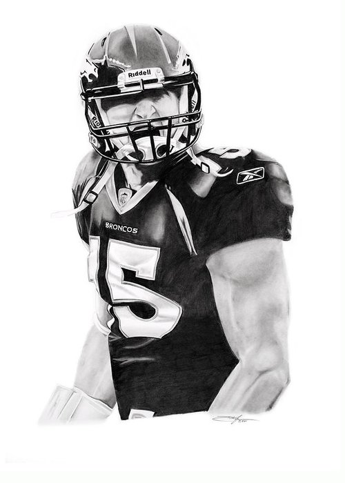 Nfl Greeting Card featuring the drawing Tebow by Don Medina
