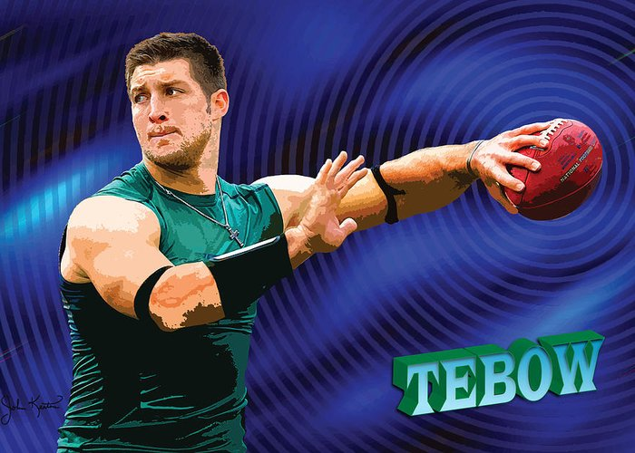 Tim Tebow Greeting Card featuring the digital art Tebow by John Keaton